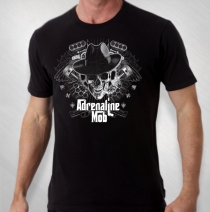 Adrenaline Mob - Men's Black Motorskull Tour Tee