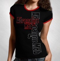 Adrenaline Mob - Women's Black/Red Ringer Side Print Tee
