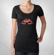 Asia - Women's Black Asia Eyes Scoop Neck Tee