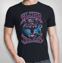 Blues Traveler - Men's Purple Cat Tee -  Front Only