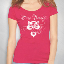 Blues Traveler - Women's Red Cat Logo Scoop Neck