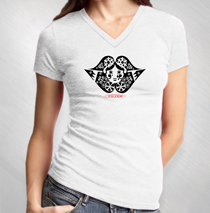 Filter - Lips Logo Women's White Burnout V-Neck