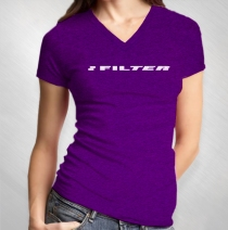 Filter - Logo Purple V-Neck Slub Women's Tee