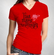 Lisa Marie Presley - Women's Logo Rose Red Slub V-Neck