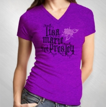 Lisa Marie Presley - Women's Logo Rose Purple Slub V-Neck