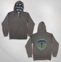 Queensryche - Men's Grey Globe Hoodie w/ Lined Hood