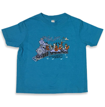 Railroad Earth - Train Vintage Turqouise Toddler Tee